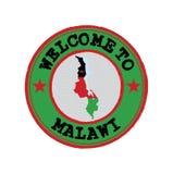 Sello del vector de la recepción a Malawi con la bandera de la nación en esquema del mapa en el centro ilustración del vector