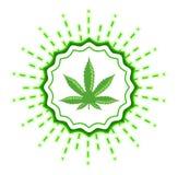 Sello del vector del emblema de la marijuana, ejemplo de la muestra de la planta de la hoja del cáñamo stock de ilustración