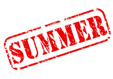 Sello del verano con el texto rojo en blanco Imagen de archivo