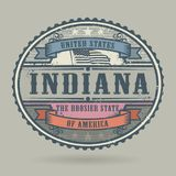 Sello del vintage con el texto los Estados Unidos de América, Indiana stock de ilustración
