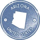 Sello del vintage del mapa de Arizona ilustración del vector