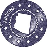 Sello del vintage del mapa de Arizona stock de ilustración