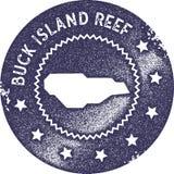 Sello del vintage del mapa de Buck Island Reef stock de ilustración