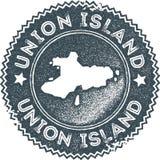 Sello del vintage del mapa de la isla de la unión stock de ilustración
