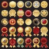 Sello e insignias de la cera del certificado Fotos de archivo libres de regalías