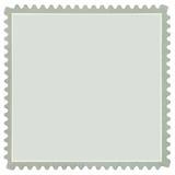 Sello en blanco cuadrado en gris, macro aislada Foto de archivo