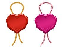 sello en blanco de la cera del corazón con la cadena Imagen de archivo