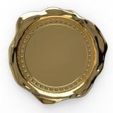 Sello en blanco de la cera del oro aislado en el fondo blanco - representación 3D imagen de archivo libre de regalías