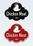 Sello/etiqueta engomada de la carne del pollo en vectores Imagen de archivo