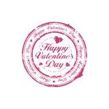Sello feliz del día de tarjeta del día de San Valentín Fotografía de archivo