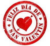 Sello feliz del día de tarjeta del día de San Valentín stock de ilustración