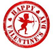 Sello feliz del día de tarjeta del día de San Valentín ilustración del vector