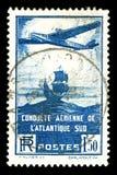 Sello francés de los aviones de la vendimia rara Fotos de archivo libres de regalías