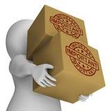 Sello importante en entrega crítica de las demostraciones de las cajas Fotos de archivo libres de regalías
