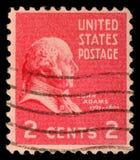 Sello impreso en los E.E.U.U., Presidente de los Estados Unidos de las demostraciones, John Adams fotos de archivo