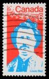 Sello impreso por el Canadá, demostraciones Louis Riel Imagenes de archivo