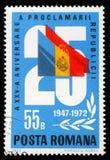 Sello impreso por Rumania, las demostraciones 25 y las banderas, aniversario 25 de la república Fotos de archivo libres de regalías