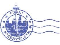 Sello lamentable con el paisaje urbano de Seattle Foto de archivo libre de regalías