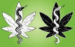 Sello médico común del grunge de la marijuana con el ejemplo de la serpiente Fotos de archivo libres de regalías