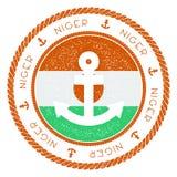 Sello náutico del viaje con Niger Flag y el ancla Fotografía de archivo libre de regalías