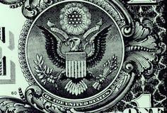 Sello nacional de los Estados Unidos de América en el dólar Bill Currency del americano uno Imagenes de archivo