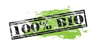 sello negro del 100 por ciento bio y verde en el fondo blanco libre illustration