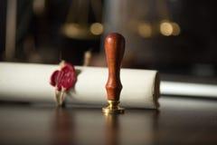 Sello notarial y voluntades Instrumentos notariales voluntad con el sello, el concepto foto de archivo libre de regalías