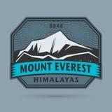 Sello o etiqueta con el monte Everest ilustración del vector
