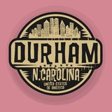 Sello o etiqueta con el nombre de Durham, Carolina del Norte libre illustration