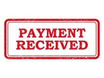 Sello o etiqueta engomada recibido pago rojo Foto de archivo libre de regalías