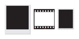 Sello polaroid y un marco de película de 35m m Imagen de archivo libre de regalías