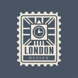 Sello postal de la ciudad de Londres con la silueta abstracta de Big Ben y bandera británica en fondo Configuración histórica Imágenes de archivo libres de regalías