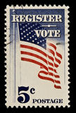Sello postal del registro y del voto Fotografía de archivo