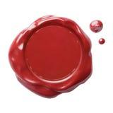 Sello postal rojo de la cera con la trayectoria de recortes incluida Fotografía de archivo libre de regalías