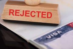 Sello rechazado en visa imagen de archivo