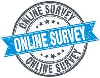 Sello redondo azul del vintage del grunge de la encuesta en línea ilustración del vector