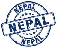 Sello redondo del grunge azul de Nepal Fotos de archivo