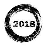 Sello redondo del grunge del negro de la Feliz Año Nuevo en el ejemplo blanco del vector ilustración del vector