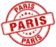 Sello redondo del grunge rojo de París Foto de archivo