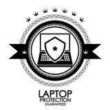Sello retro negro de la protección de la computadora portátil de la escritura de la etiqueta del vintage Foto de archivo libre de regalías