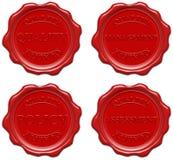 Sello rojo de la cera: calidad, gerencia, política, gravamen Foto de archivo