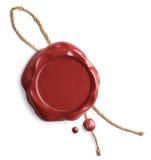 Sello rojo de la cera con la cuerda aislada imagenes de archivo
