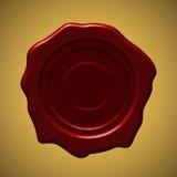 Sello rojo de la cera en fondo de la pendiente del oro stock de ilustración