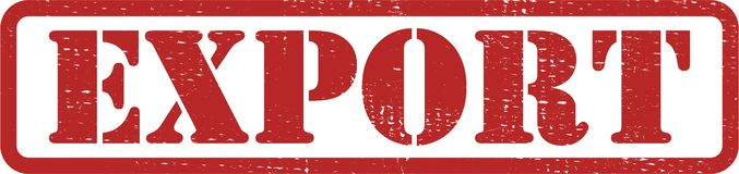 Sello rojo de la exportación fotos de archivo libres de regalías