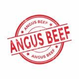 Sello rojo del grunge redondo de la carne de vaca de Angus stock de ilustración