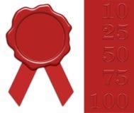 Sello rojo en blanco de la cera con números del jubileo Fotografía de archivo libre de regalías