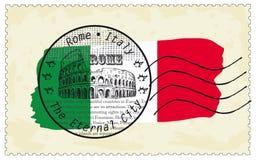 Sello Roma Italia con el Colosseum en bandera nacional stock de ilustración