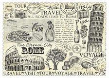 Sello Roma Italia con la torre de Colosseum y de Pisa stock de ilustración