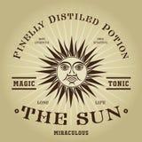 Sello tónico mágico retro de The Sun del vintage Imagenes de archivo