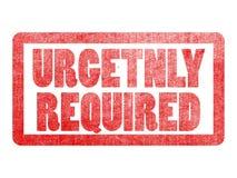 Sello urgente requerido de la etiqueta del texto para el buscador de la búsqueda de trabajo Foto de archivo libre de regalías